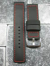22mm PVC Composite Rubber Band Black Diver Watch Strap Kevlar Fabric Red X1