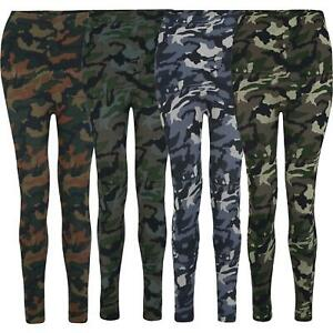 Women Camouflage Print Thermal Fleece Lined Leggings Ladies Bottoms One Size