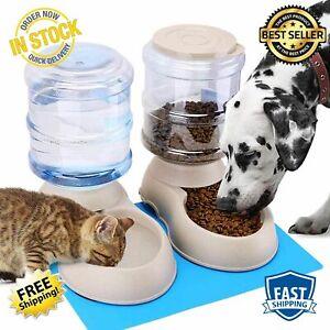 Automatic Cat Feeder Water Dispenser Set Pet Food Mat Small Medium Kitten Big