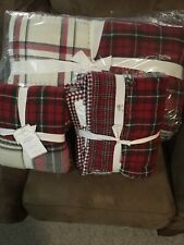 Pottery Barn EASTON PLAID PATCHWORK Full / Queen Quilt 1 Euro 1 King Shams Red