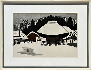 Saito Kiyoshi: Winter in Aizu (II). Signierter Original-Farbholzschnitt. Gerahmt