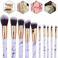10PCS Pink White Marbling Kabuki Make up Brush Set Brushes Blusher Face Powder