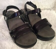Dansko Surraya Purple Patent Leather Sandals EURO 37 Clog Wedge Platform