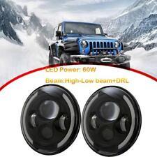 "For Jeep Wrangler 2Pcs 7"" 60W Round LED Headlight Hi/Low Beam Halo Angle Eye DRL"