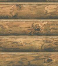 3 DOUBLE ROLLS Wallpaper Rustic Mountain Logs Cabin 3D Realistic Wood Brown Tan
