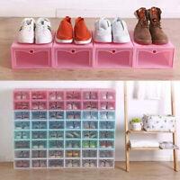 Plastic Clear Shoe Box Foldable Storage Transparent Organizer Container Case