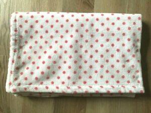 "Carters Plush Toddler Blanket White Pink Polka Dots 40"" x 50"" Fits Toddler Bed"