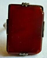 RING SILBER 830/f. ACHAT ca. 4,42 Gramm ca. 17 mm vor 1945 DEUTSCHLAND