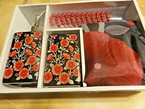 15 pc BATH SET~Shower Curtain~Black Red/pink POPPY Flowers Soap~pump TOOTHBRUSH