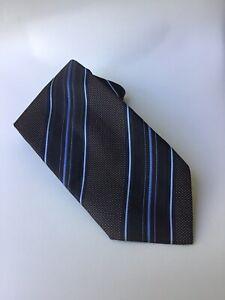 Ermenegildo Zegna 100% Silk Brown Diagonal Stripe Blue White Italy Excellent