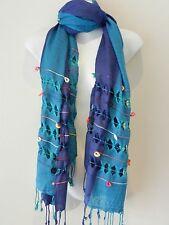Blue Purple Light Warm Big Pashmina Scarf Shawl Wrap Hijab Cashmere Cotton Blend