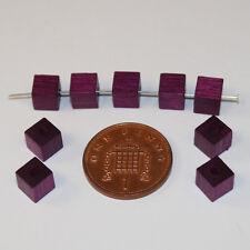 100 Morado Calidad Cubo Square Natural Checa Madera Cuentas de la fabricación de joyas de 6mm