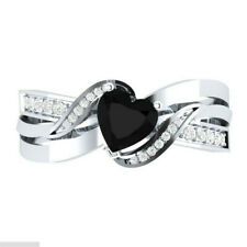 Fashion 925 Silver Heart Shape Black Sapphire Women Wedding Ring Size 6-10