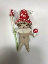"Cotton Batting ""Mushroom Man"" Christmas Ornament Signed Art"
