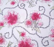 Sweet Rebellion BTY Felicia Gallo Ink & Arrow Peonies Chains Floral Pink White