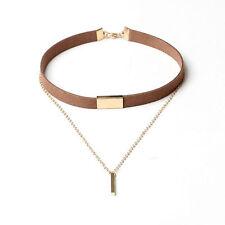 Vintage Women Black Velvet Choker Necklace Chain Of Gold Bar Pendant Jewelry New