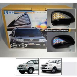 Fit 99-15 Toyota Hilux SR5 SR6 Fortuner Lexus Rx300 Led Mirror Cover Chrome Pair