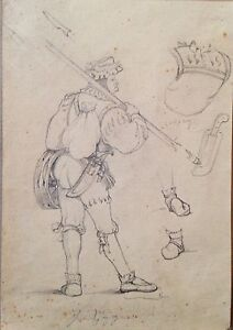 Study for a painting by Alois Schonn (pencil drawing)