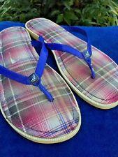 SPERRY TOP SIDER Patent Leather PURPLE PLAID Sandals Flip Flops Women Shoes Sz 8