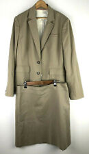 Banana Republic Skirt Suit 14 Khaki Tan Brown Cotton Stretch Blazer Career Set q