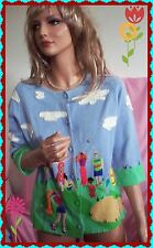 S Small MICHAEL SIMON Blue Green Multi-Color GOLF Summer Embellish RARE Sweater