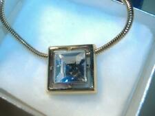 "AVON CUT LEAD CRYSTAL SQUARE  PENDANT NECKLACE 18"" SNAKE CHAIN Gold Tone w/BOX"