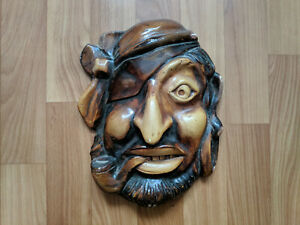 80's USSR Russian Rare Pirate with smoking pipe Decor Ceramics Mural Wall Mask
