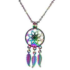 Rainbow Color Dream Catcher Pearl Cage Pendant Necklace
