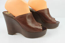VINTAGE Sabots Mules BRUNO MAGLI Italy Pour F. PINET Cuir Marron T 39 TBE