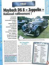 "Maybach DS 8 ""Zeppelin"" 1937 GERMANY DEUTSCHLAND ALLEMAGNE Car Auto FICHE FRANCE"