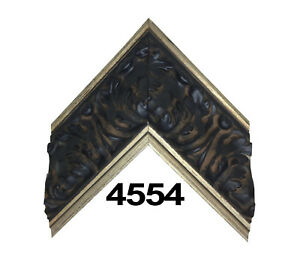"""Custom Picture Frame   3 3/8"""" Black Ornate Gold Trim   Great for Large Canvases"""
