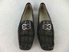 ESCADA handgenähte Schuhe Slipper grau 39,5  Mokassins Logo Krokooptik TOP