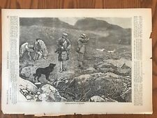Grouse Shooting In Scotland. Wood Engraving, 1870.