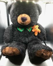 Large JC Penney Holiday Collection Black Teddy Bear Christmas Plush Stuffed Toy