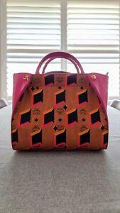 MCM bag, top handle, long strap, two tone cognac & pink, visetos, preowned