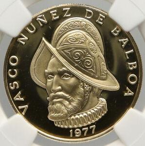 1977 PANAMA CONQUISTADOR BALBOA Liberty Vintage OLD Gold 100 Bal Coin NGC i92475