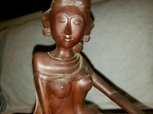 Mas Bali Balinese Wood Carving Woman Semi Nude