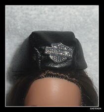 HAT MATTEL BARBIE HARLEY DAVIDSON LOGO FAUX LEATHER BLACK MOTORCYCLE HAT CAP