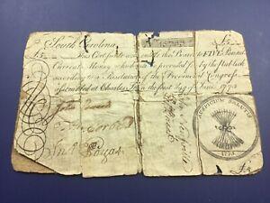 1775 5 Pound South Carolina Colonial Note Fr SC-98