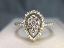 Estate 14k White Gold Round Brilliant Diamond Pear Shape Cluster Ring 1/4 ct