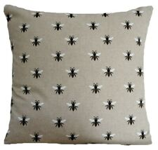 Busy Bee Cushion Cover Printed Linen Fabric Grey Black Square 16""