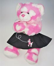 Build a Bear Pink White Hearts Teddy Poodle Skirt Stuffed Plush Toy Magnetic Paw