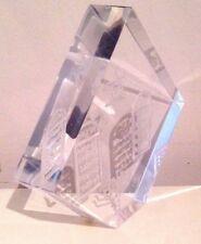 Signed Art Paper Weight Sculpture Hebrew Ten Commandments Judaic Etched Acrylic