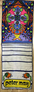 """VINTAGE PETER MAX SCARF SILK 1960-70s PSYCHEDELIC POP ART 14"""" x 22"""""""