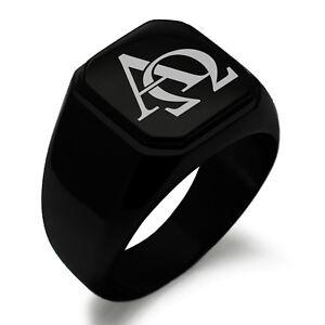 Stainless Steel Alpha & Omega Symbol Mens Square Biker Style Signet Ring