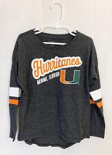 "Girls MIAMI HURRICANES Shirt Size Small S 16"" Long Sleeve Canes Miami Florida"