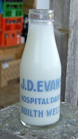 milk bottle : old 1950's Hospital Dairy of Builth Wells WALES : Dairy