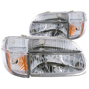 ANZO for 1995-2001 Ford Explorer Crystal Headlights Chrome w/ Corner Lights 2pc