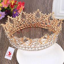 Baroque Queen Crown Tiara 5.3*2.3inch Chic Pageant Rhinestone Full Zinc Alloy