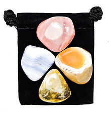 INNER CALM Tumbled Crystal Healing Set = 4 Stones + Pouch + Description Card